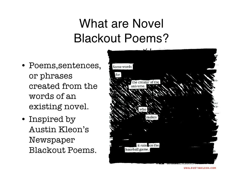 What Are Novel Blackout Poems Poems Sentences Or Phrases