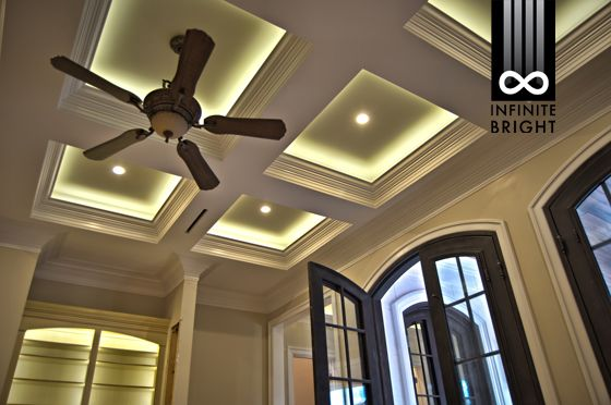 The Drama Of This Lighting Combo Is Phenomenal Coffered Ceiling