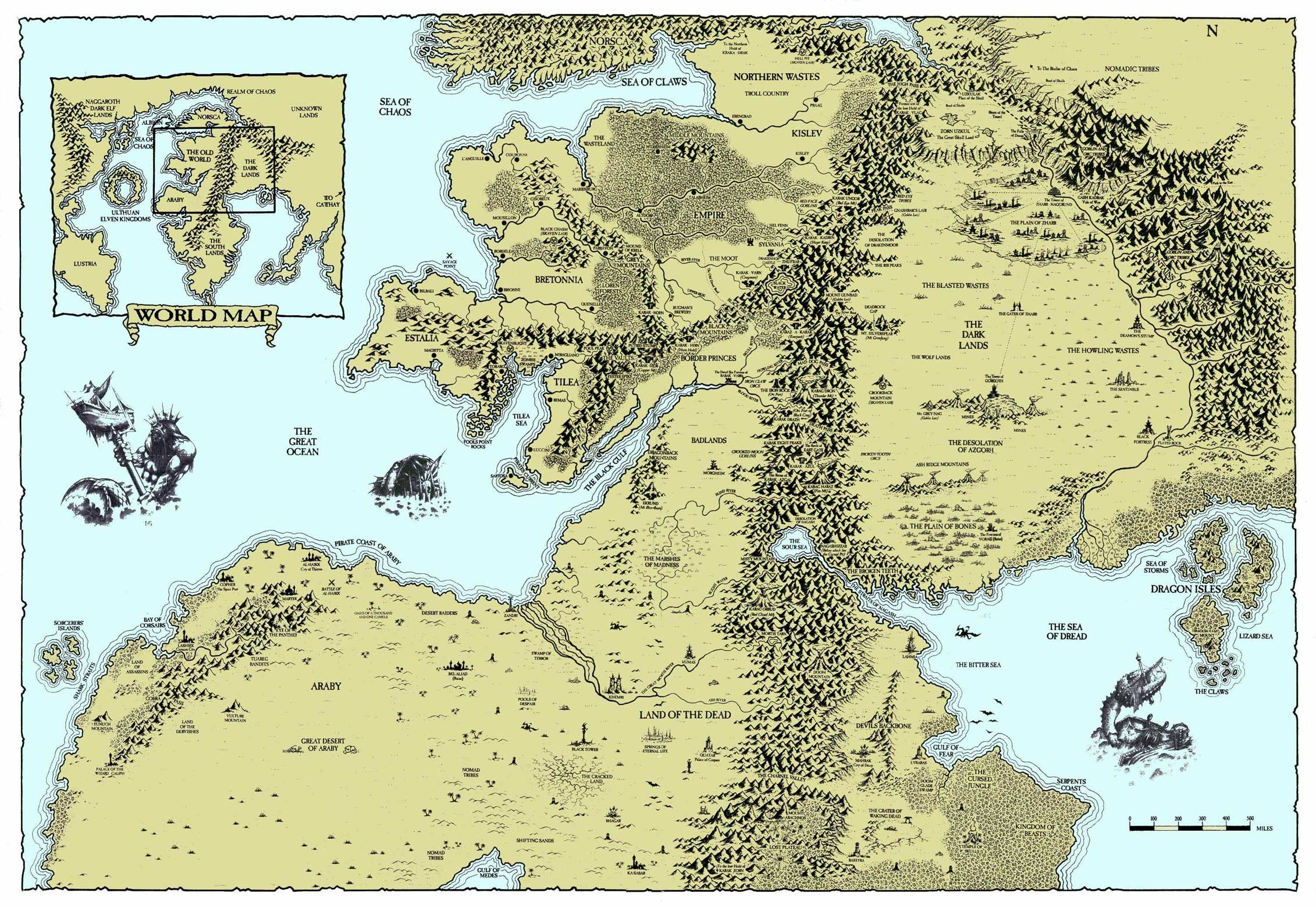 Warhammer World Map | Maps in 2019 | Fantasy world map, Fantasy