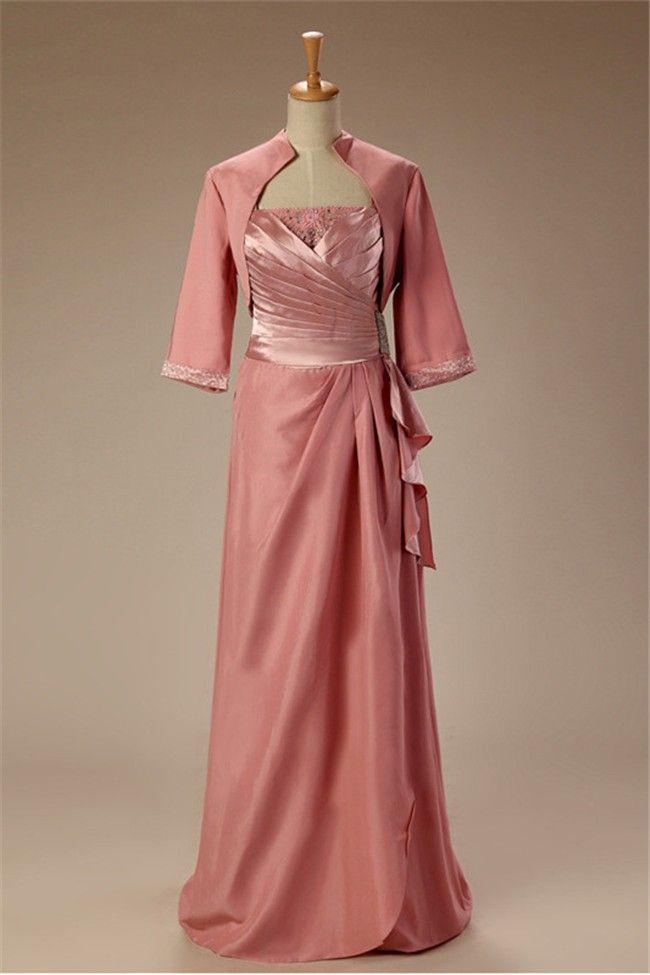 Sheath Long Dusty Rose Chiffon Mother Of The Bride Dress With Bolero ...