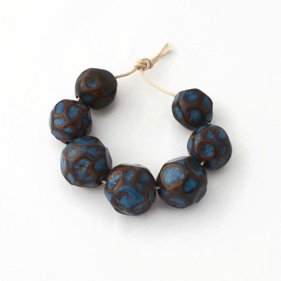 7 Handmade Beads from South Africa Clay Beads door EarthbutterStudio