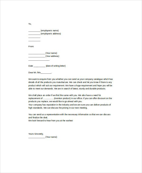 Inquiry Letter For Business Sample Business Enquiry Letter 7 Examples In Word Pdf  Sample .
