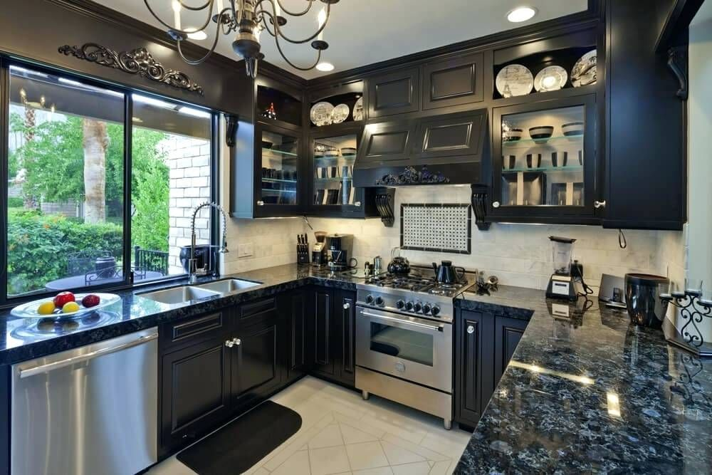Dark Blue Granite Countertops Navy Wonderful Black Kitchen Cabinets Ideas 46 And Pictures Of Kitchens