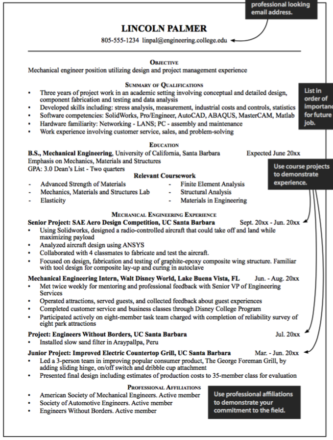 Sample Mechanical Engineering Resume  HttpExampleresumecvOrg