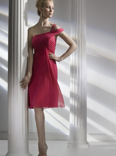 A-line One-shoulder Fuchsia Chiffon Short Prom Dress/ Bridesmaid ...