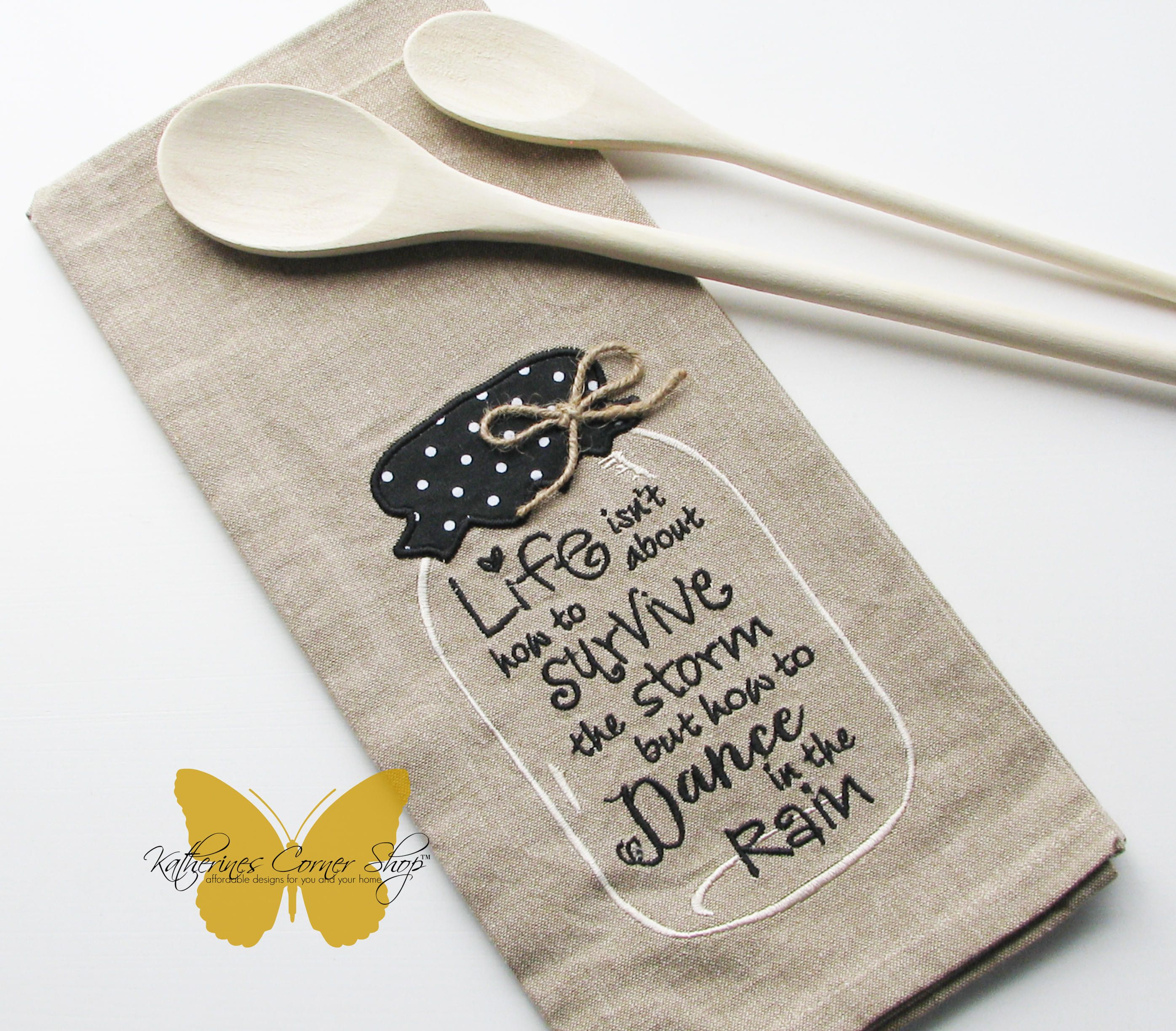 Dance in the rain embroidered mason jar tea towel with