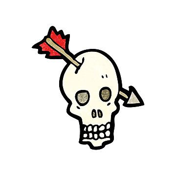 cartoon skull with arrow in