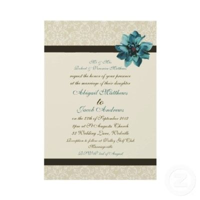 Chocolate Brown Cream And Teal Blue Flower Wedding Invitations by ZazzleBusinessCards