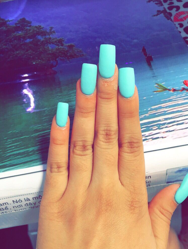 Matte Electric blue long square shape acrylic nails | My Nails ...