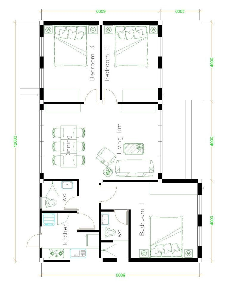 House Plans Idea 12x8 With 3 Bedrooms House Plans House House Styles