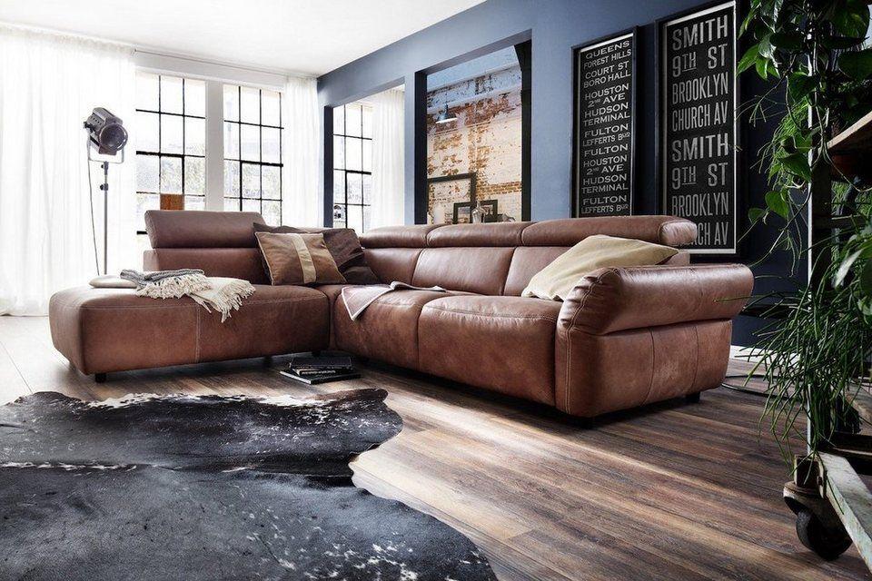 Kawola Ecksofa Riso Sitztiefe Von 58 Bis 80 Cm Online Kaufen Otto Ecksofa Sofa Leder Braun Sofa