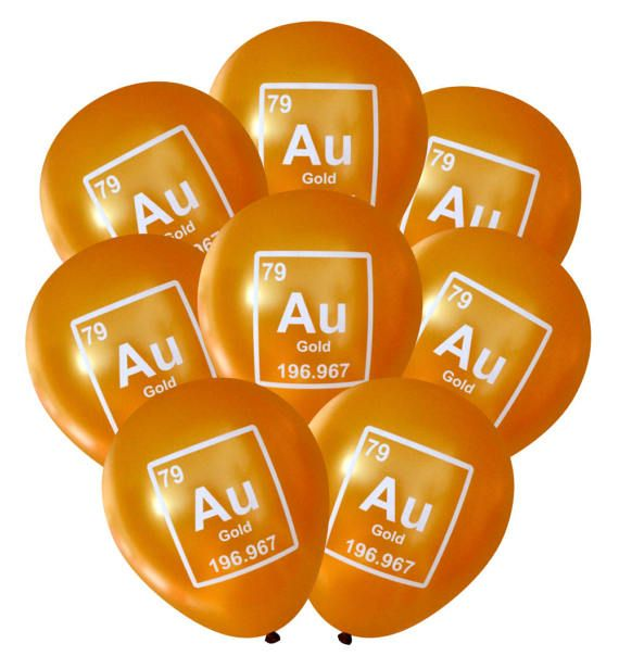 hese gold au symbol periodic table element balloons are sure to be a hit - Au Symbol Periodic Table