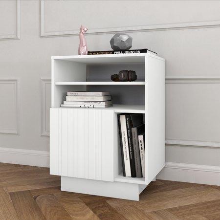 Nexera Marble 1 Door Audio Tower White Furniture Living Room Furniture Audio Room