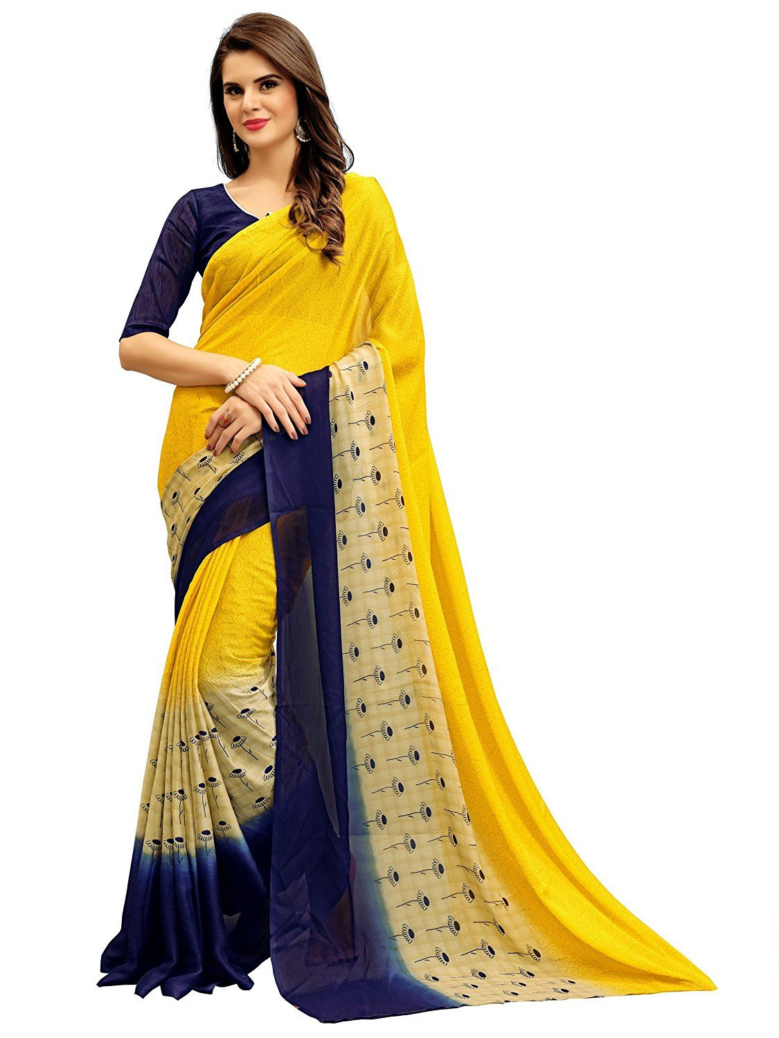1dab35a12 749.00 (88% Off ) Women s Heavy Chiffon Printed Saree With Free Blouse Piece