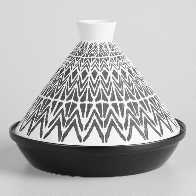 Black And White Geo Terracotta Tagine - V1