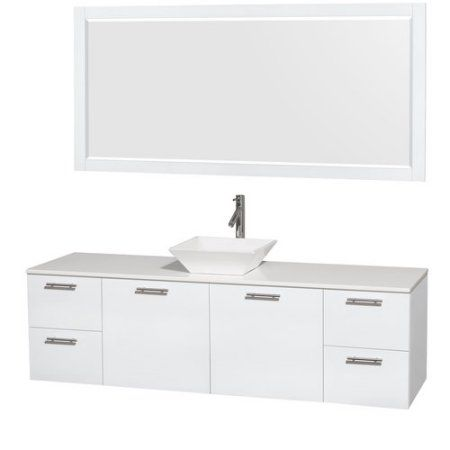 Wyndham Collection Amare 72 inch Single Bathroom Vanity in Glossy White, White Man-Made Stone Countertop, Pyra White Sink, and 70 inch Mirror