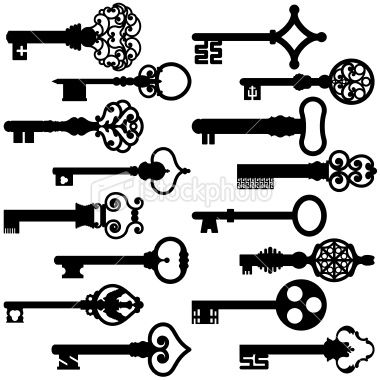 16 different black key silhouettes from the 17-18th