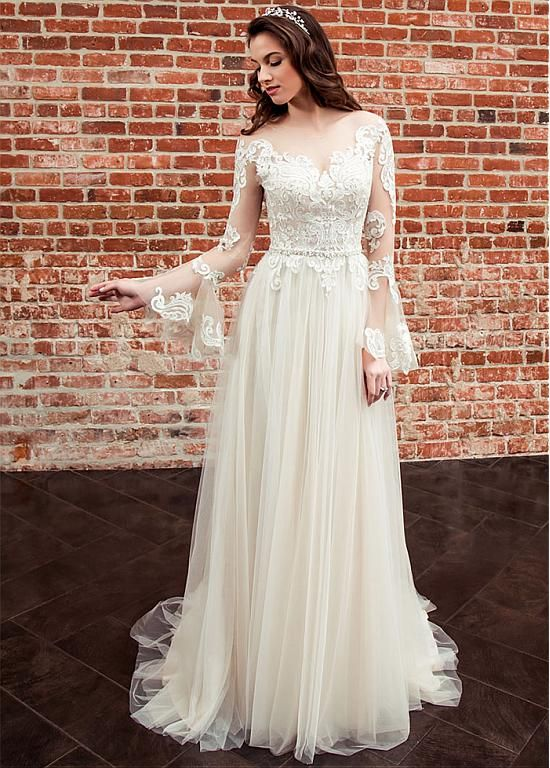 [176.99] Romantic Tulle Bateau Neckline A-line Wedding Dress With Lace Appliques & Belt - magbridal.com.cn