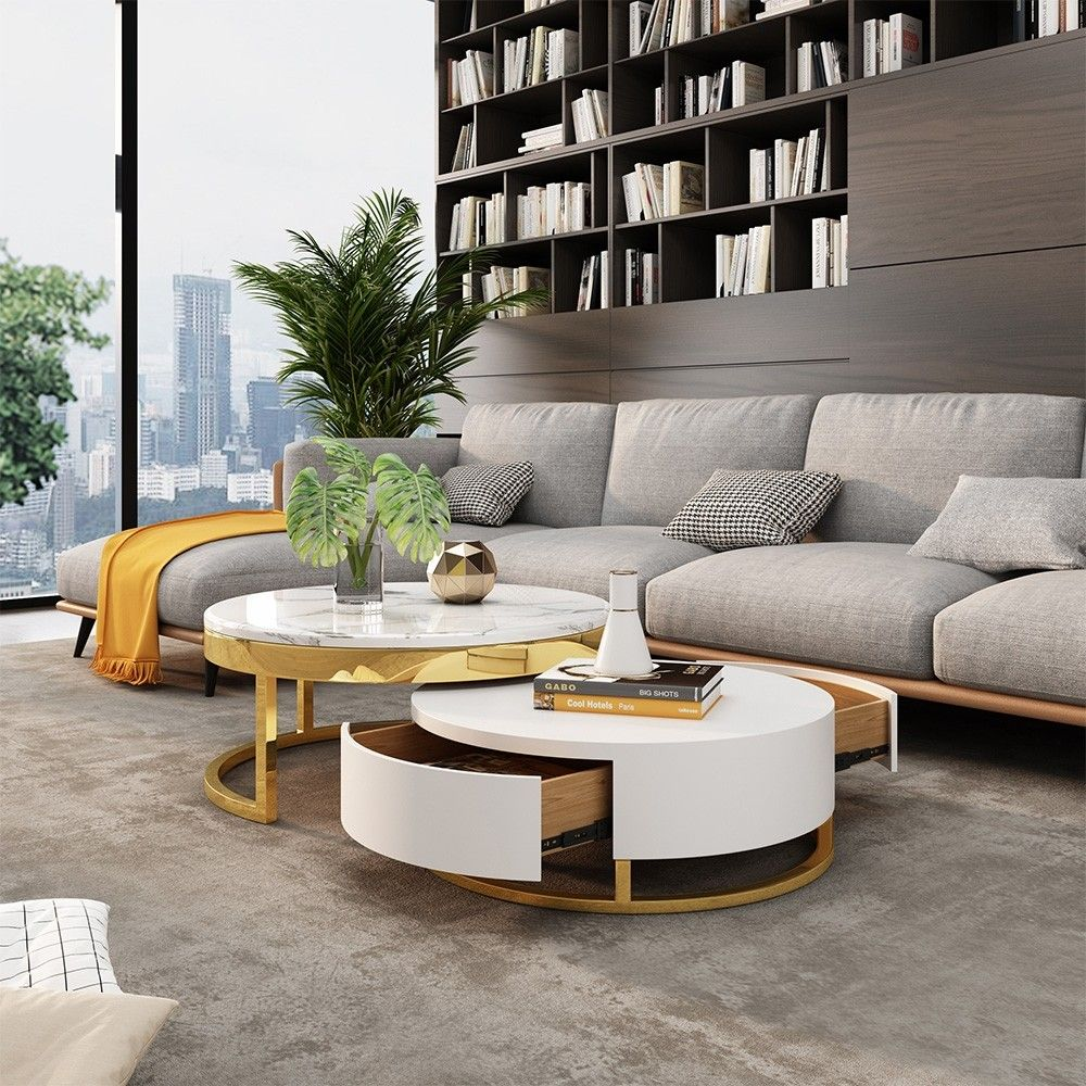 Modern Round Coffee Table with Storage LiftTop Wood