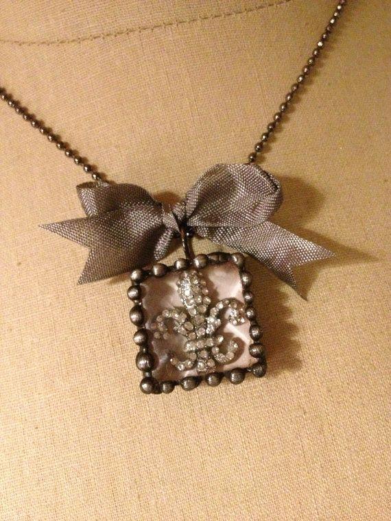 Fleur de lis Rhinestone beveled Necklace by thehansenfamily, $25.00