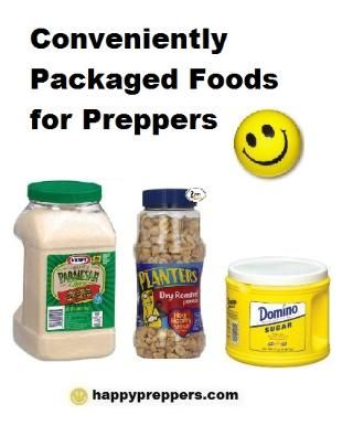 """Foods encased in plastic or glass mean that the work of """"canning"""" has been done for you: there's no need to dry can or encase in mylar and plastic buckets!  This article explores clever packaging just for preppers: http://www.happypreppers.com/clever-packaging.html"""