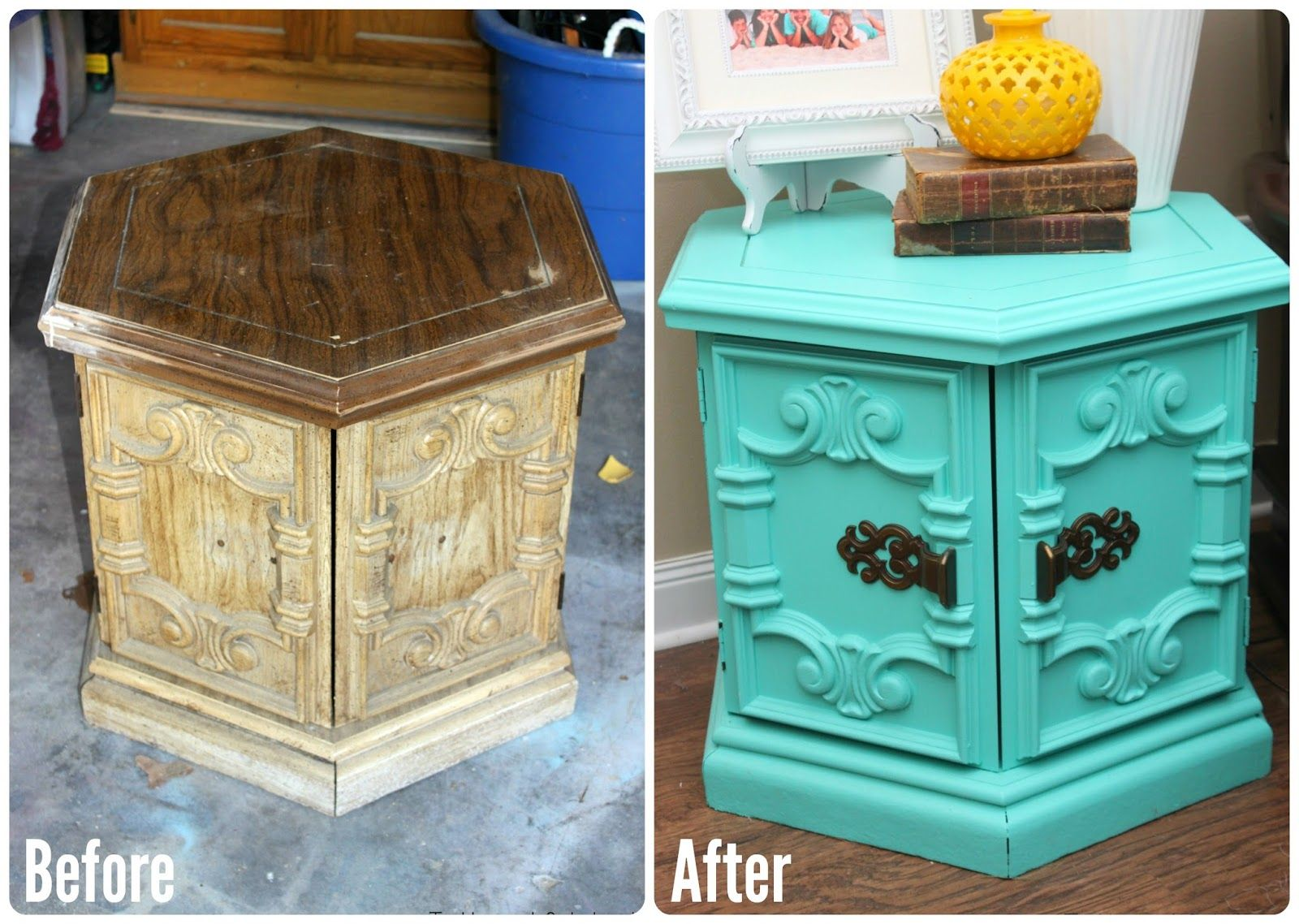 Perfect Tattered And Inked: Turquoise Hexagon End Table Redo