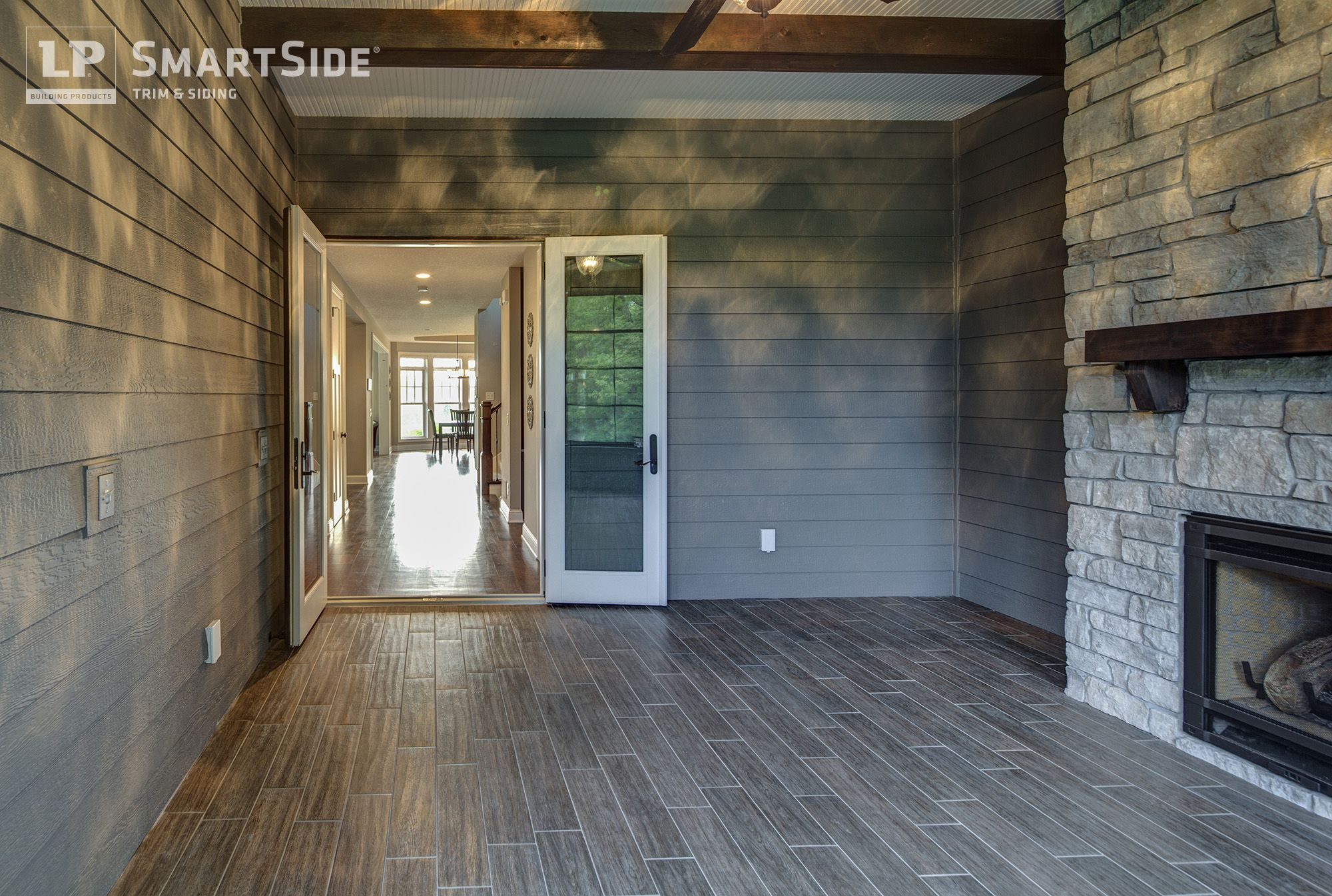 Creative Design Using Lp Smartside Exterior Siding Inside The Home Built By Swanson Homes