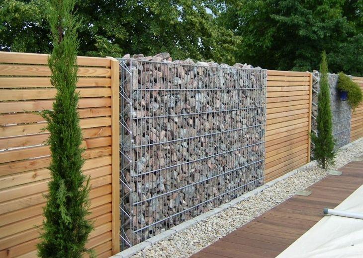 Muros de gaviones para decorar en jardín Panel, Combinaciones y Madera