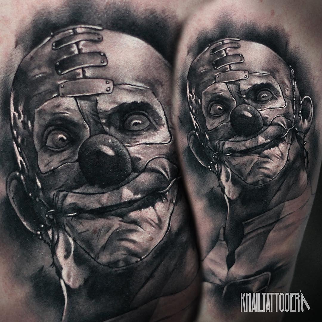 Creep Clown Tattoo On Shoulder Horror Tattoo Tatuaje Joker