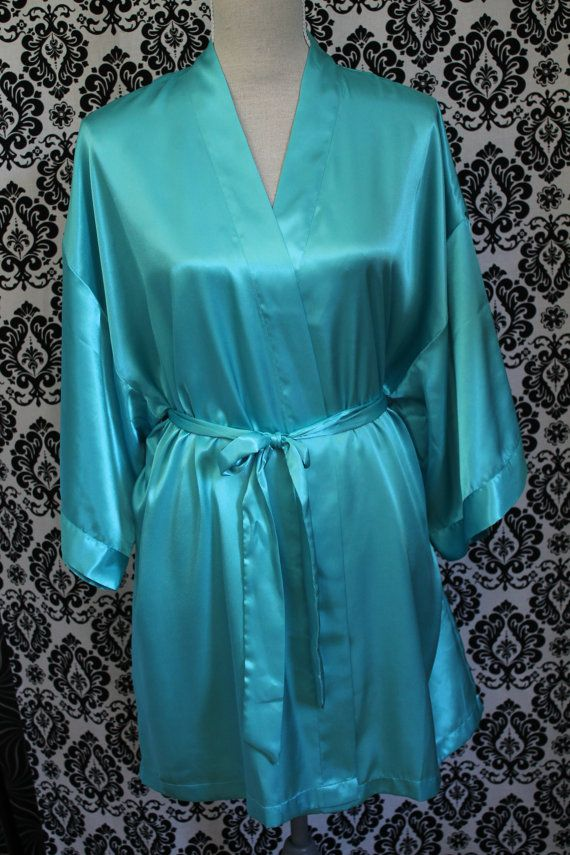Satin Robe Light Teal Turquoise Bride Bridesmaid Maid of Honor ... 49beee51f
