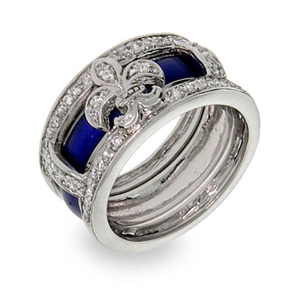 Fleur de Lis Interchangeable Enamel Rings Ring and Curves