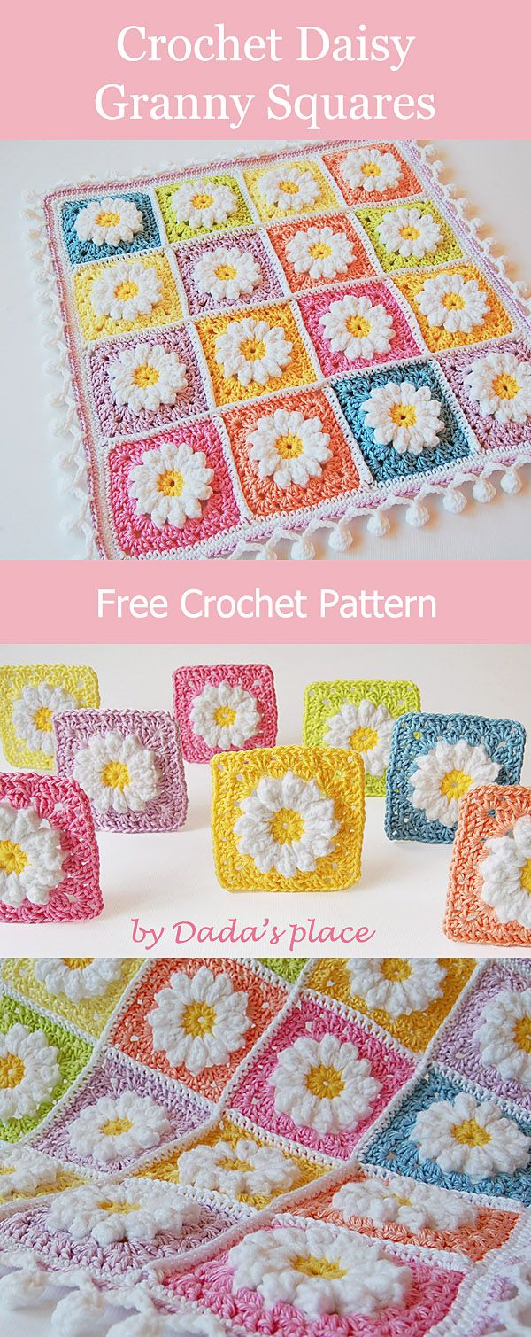 Easy to make daisy granny squares, link to the free crochet pattern. Suitable for beginners. #GrannySquares #FreeCrochetPattern #CrochetFlower #FloralGrannySquare #grannysquares