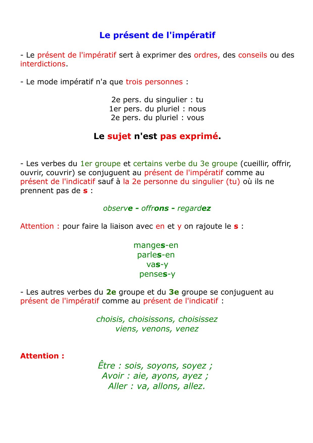 L Imperatif Present Oral Francais Temps Des Verbes Imperatif