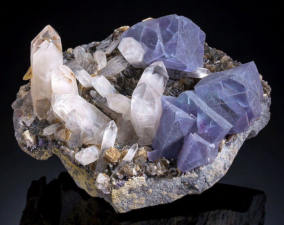 fluorite with quartz crystals, china