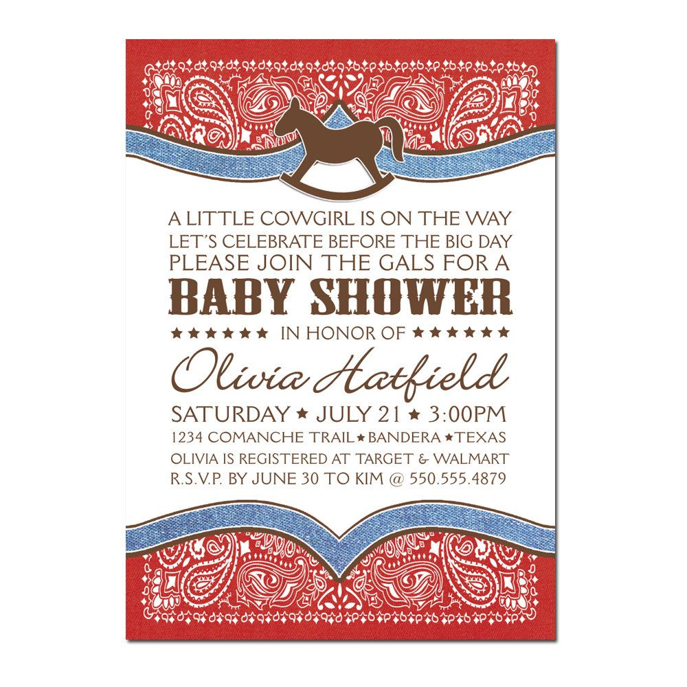 Cowboy / Cowgirl Baby Shower PRINTABLE PDF ONLY. $20.00, via Etsy ...