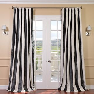 Signature Stripe Black/White Faux Silk Taffeta Curtain Panel |  Overstock.com Shopping