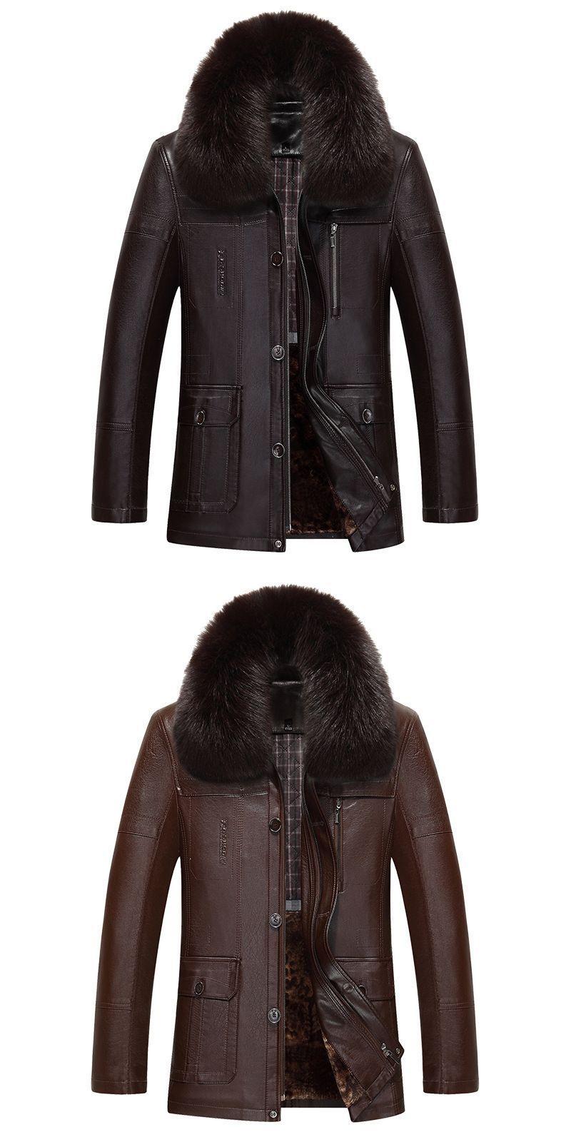 Man Winter Fur Coat middleaged men's leather jacket