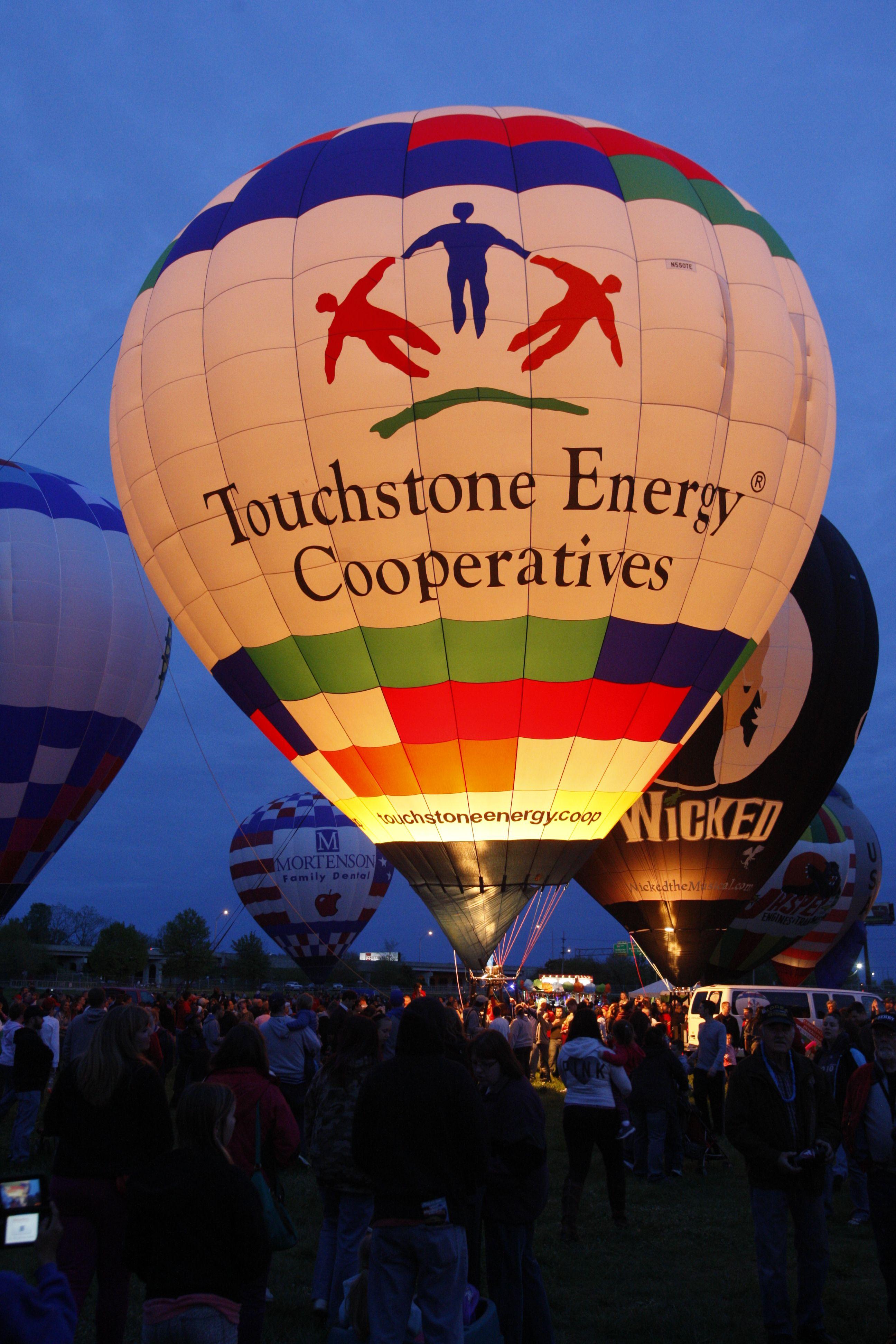 Touchstone Energy Balloon at night Hot air, Hot air