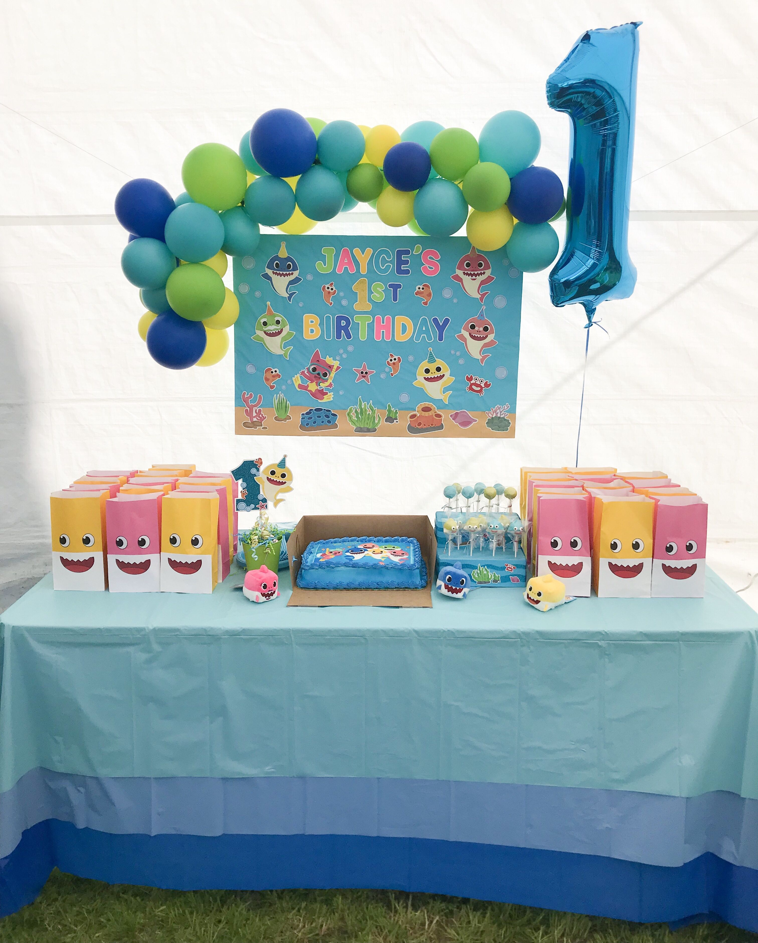 1st Birthday Baby Shark Decor Cake Table Setup