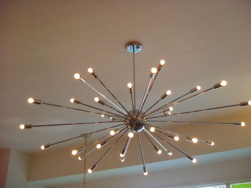 Extra Large Chrome Atomic Sputnik Starburst Light Fixture Chandelier Huge Modern Ebay