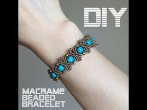 DIY BEADED MACRAME BRACELET/ LEAF MOTIF BRACELET/ BANGLE