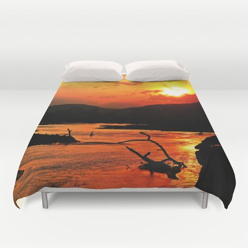 African River Sunset Duvet Cover by Minx267 | Society6