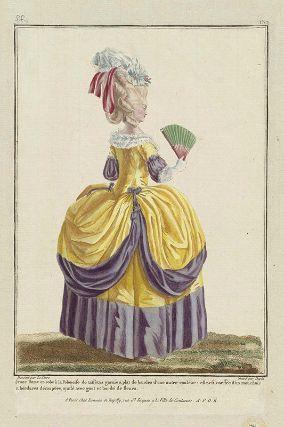 """www.mfa.org """"Jeune Dame en robe à la Polonoise de taffetas garnie a plat de bandes d'une autre couleur: elle est coeffée d'un mouchoir a bordures découpées, ajusté avec gout et bordé de fleurs"""", Gallerie des Modes, 1780; MFA 44.1471"""