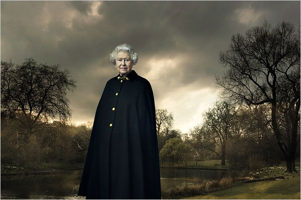 Queen Elizabeth II by Annie Lebowitz, cape worn again at her Diamond Jubilee concert