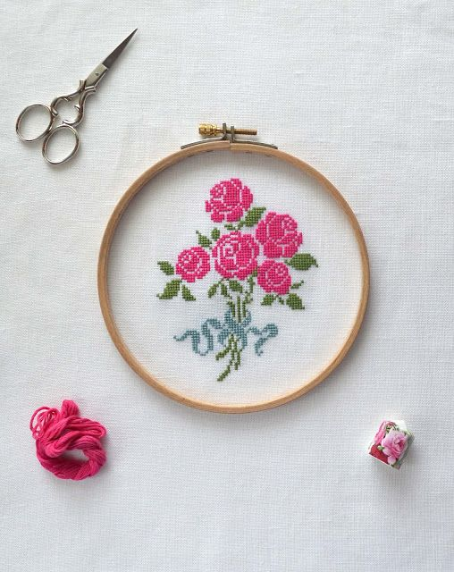 French Rose Bouquet Cross Stitch Pattern ~ Stitched with hot-pink ...