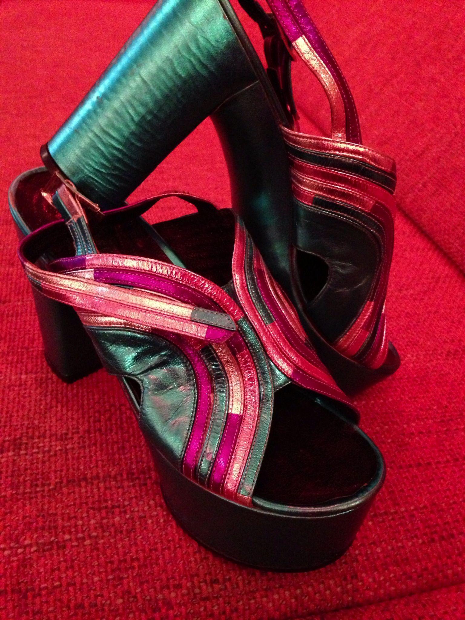 My newest shoes. 1970's metallic platforms. Italian label- Volpini
