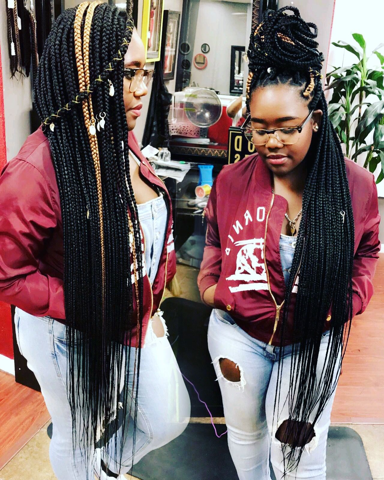 Knee length box braids hair styles pinterest box protective
