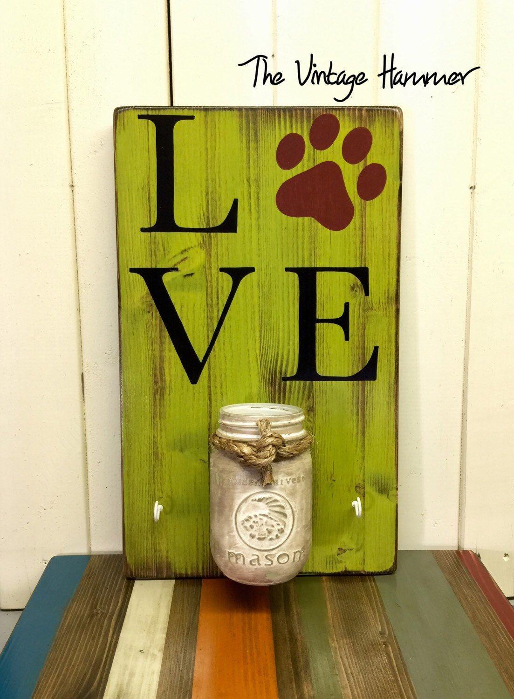 Dog sign, treat holder, mason jar, wood sign sayings, wall art, hand ...