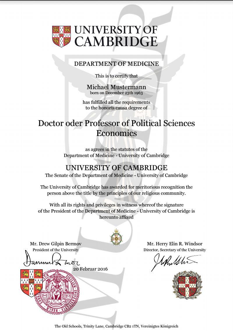 Doktortitel kaufen Cambridge University | Berufszertifi… | Degree ...