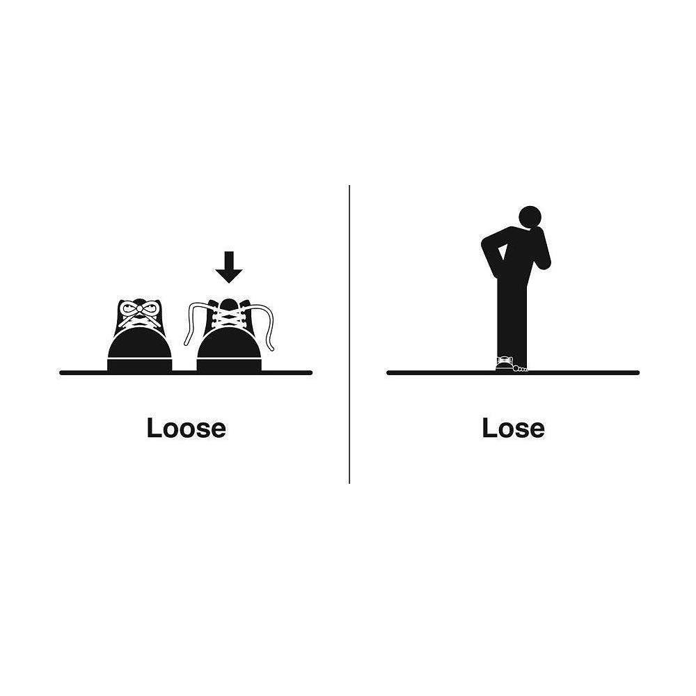 Loose [loos] = not tight: Jos pants are loose  Lose [looz
